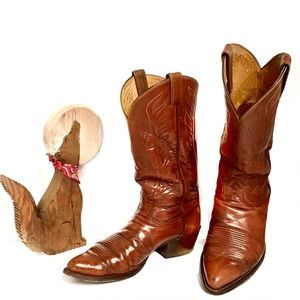 Tony Lama Vintg USA Cognac Split Shaft Boots 10.5